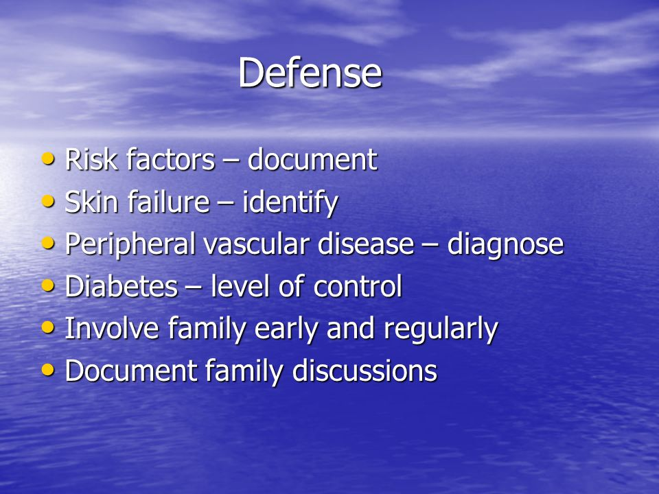 Defense Risk factors – document Skin failure – identify