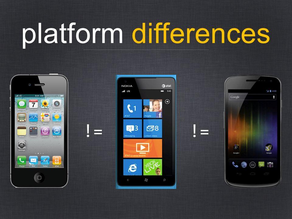 platform differences != !=