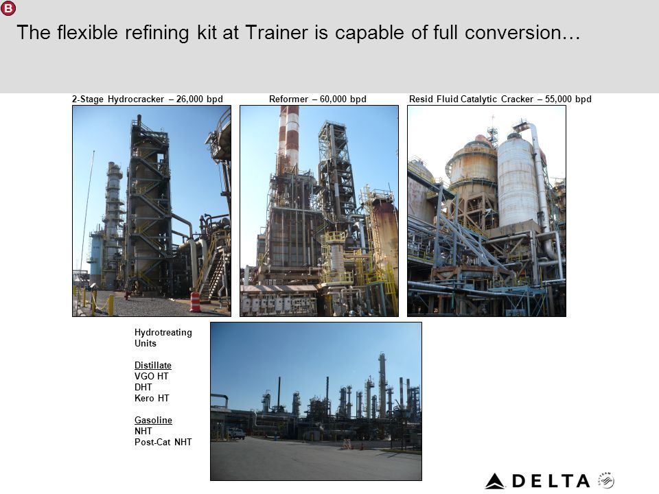 The flexible refining kit at Trainer is capable of full conversion…