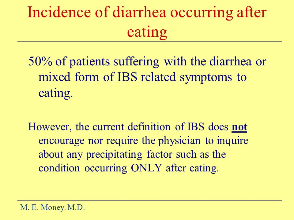 Incidence of diarrhea occurring after eating