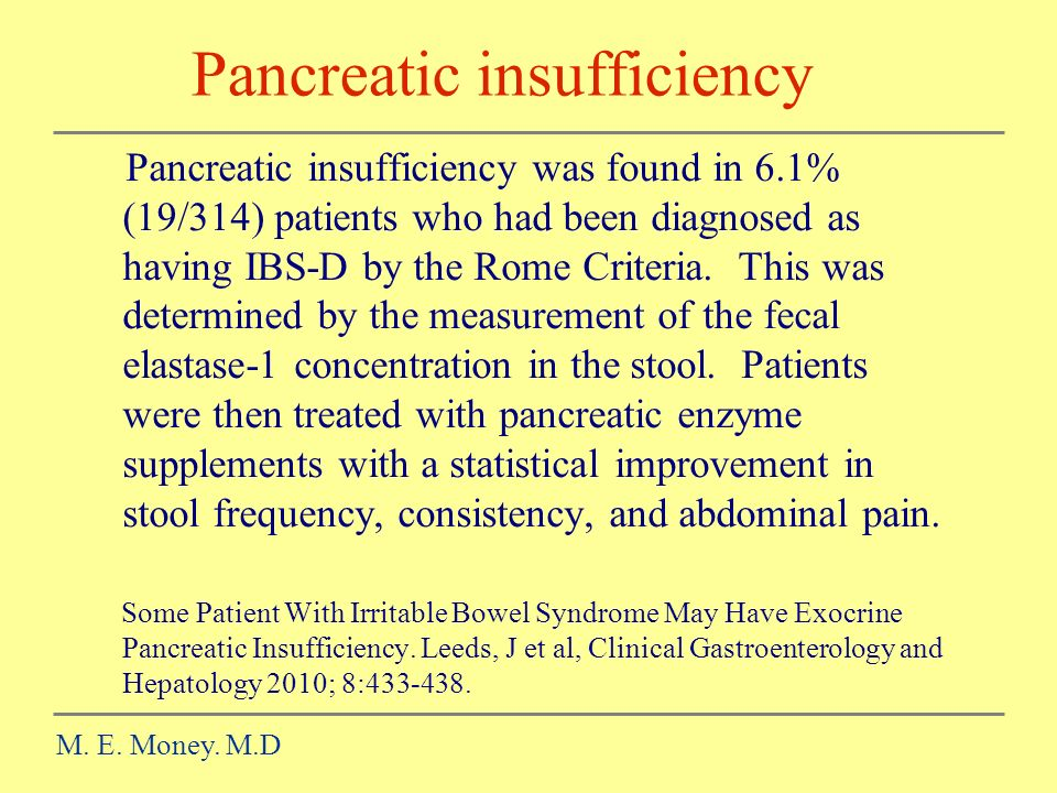 Pancreatic insufficiency