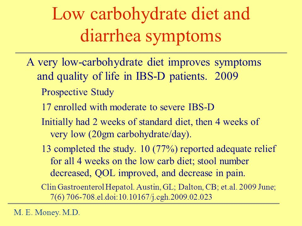 Low carbohydrate diet and diarrhea symptoms