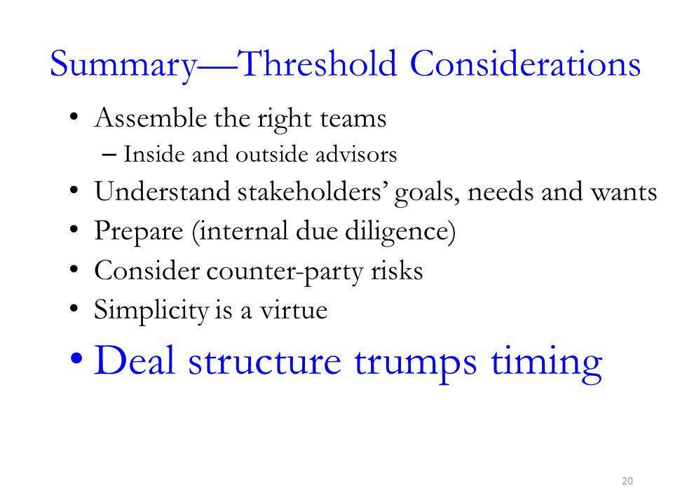 Summary—Threshold Considerations