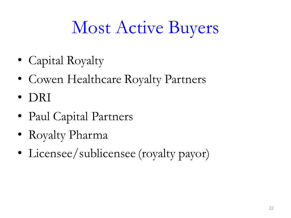 Most Active Buyers Capital Royalty Cowen Healthcare Royalty Partners