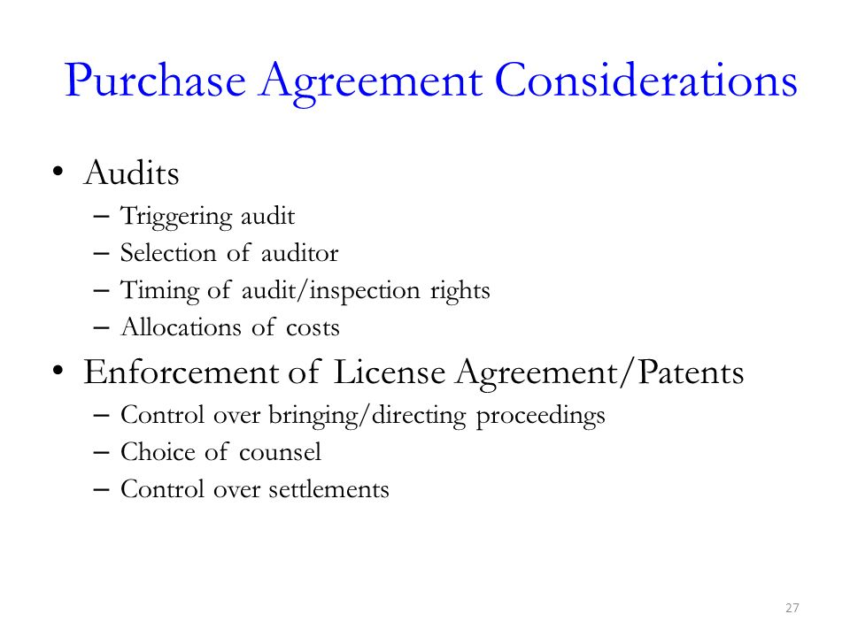 Purchase Agreement Considerations