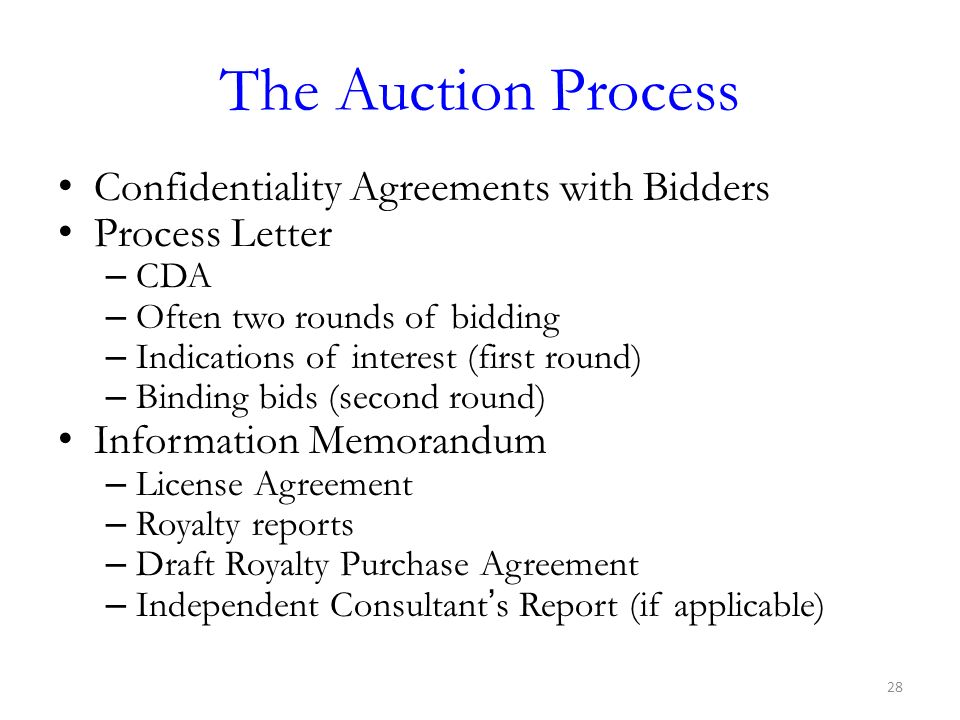 The Auction Process Confidentiality Agreements with Bidders
