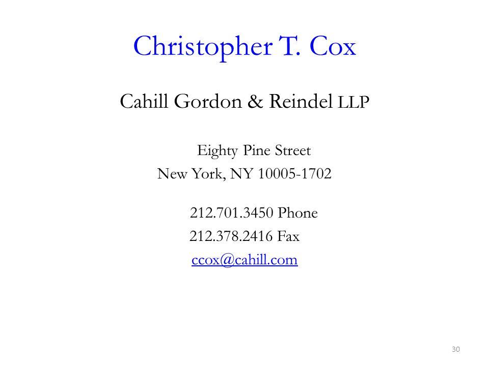 Cahill Gordon & Reindel LLP Eighty Pine Street