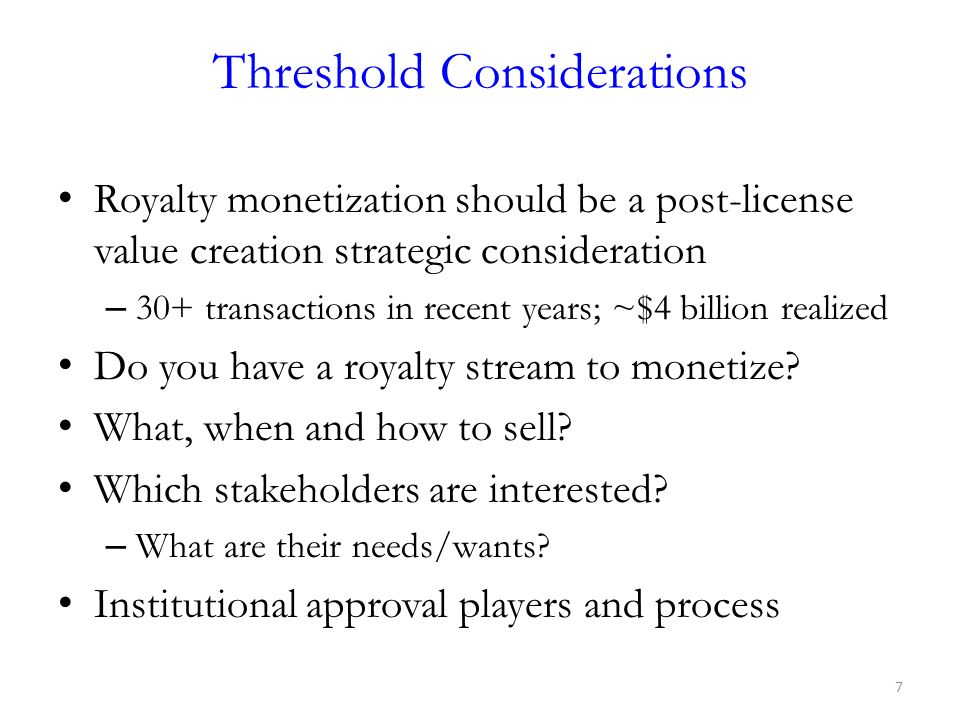 Threshold Considerations