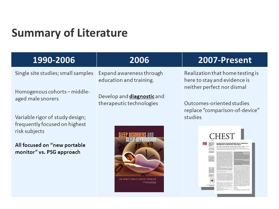 Summary of Literature 1990-2006 2006 2007-Present