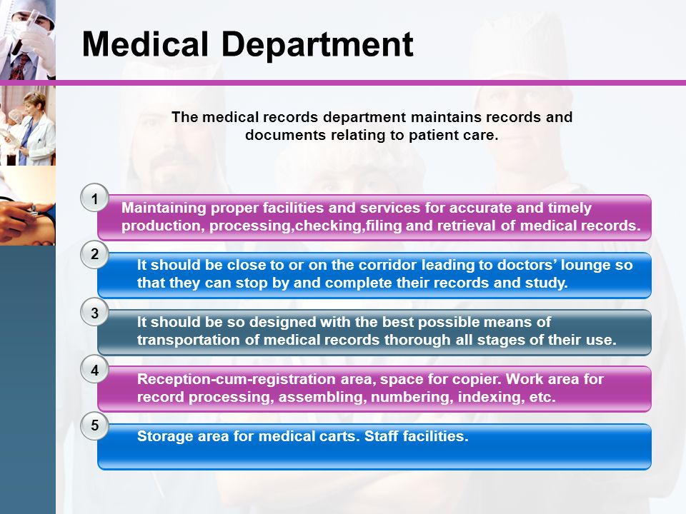 Medical Department The medical records department maintains records and documents relating to patient care.