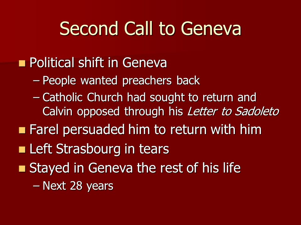 Second Call to Geneva Political shift in Geneva