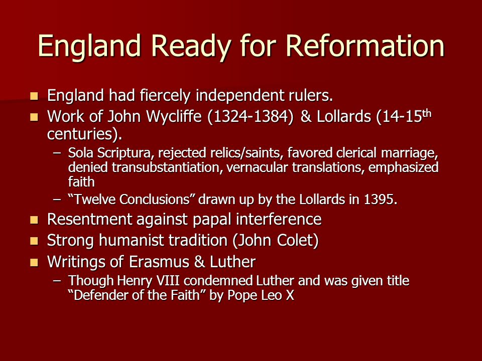 England Ready for Reformation