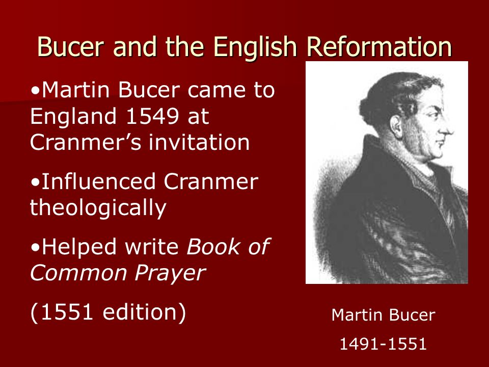 Bucer and the English Reformation