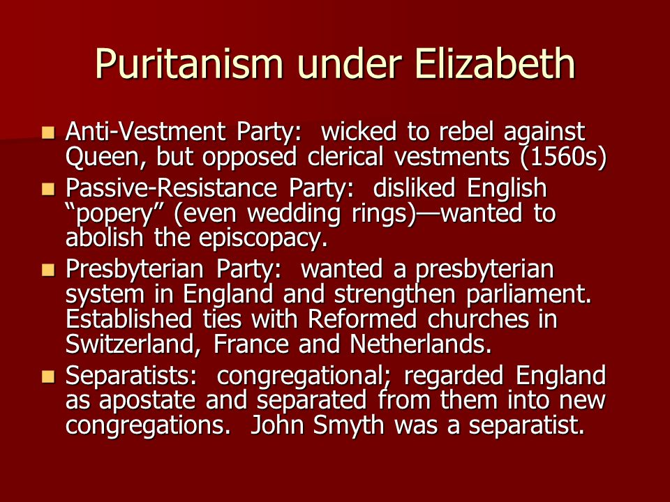 Puritanism under Elizabeth