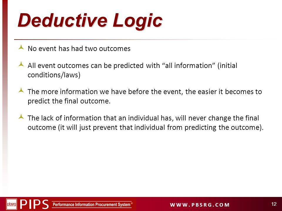 Deductive Logic No event has had two outcomes