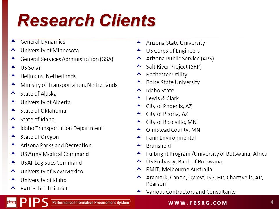 Research Clients General Dynamics University of Minnesota