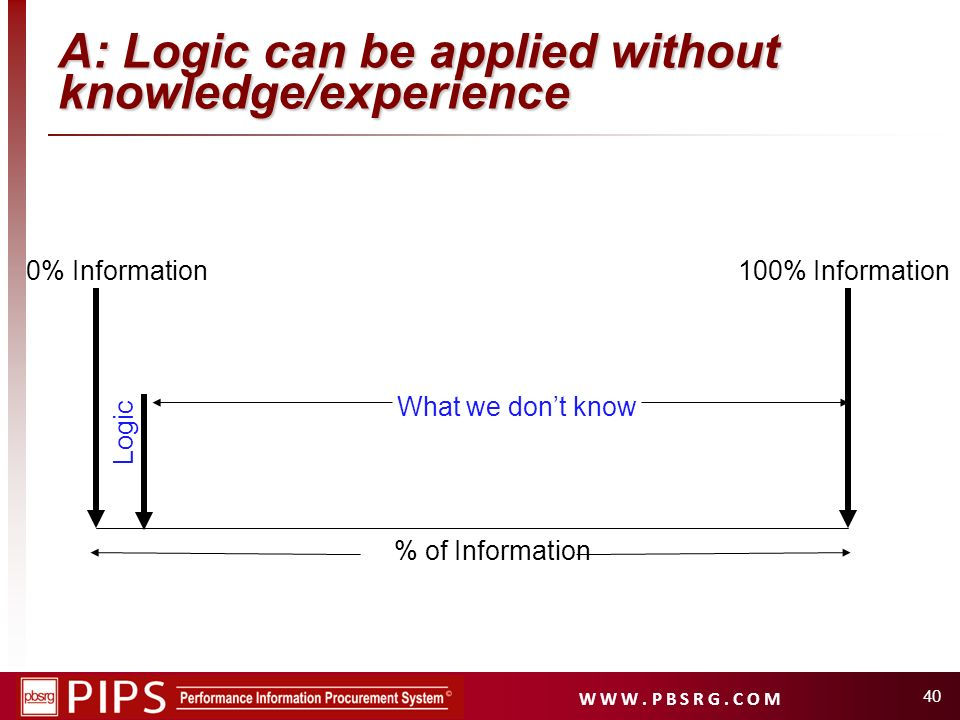 A: Logic can be applied without knowledge/experience