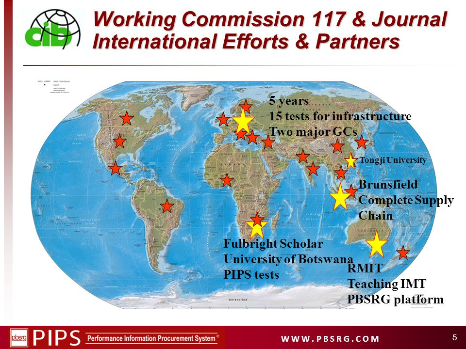 Working Commission 117 & Journal International Efforts & Partners