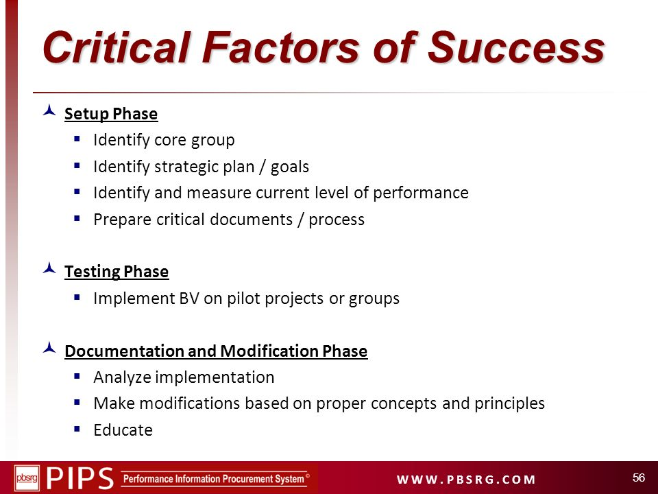Critical Factors of Success