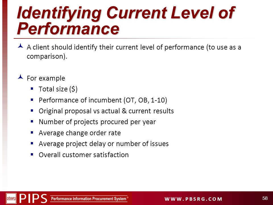 Identifying Current Level of Performance