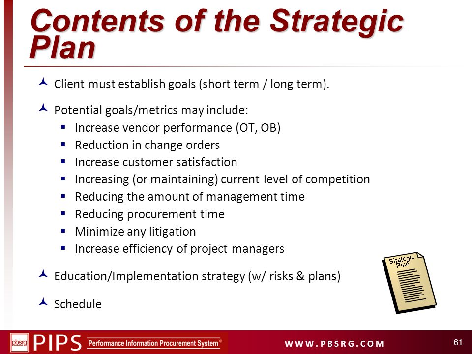 Contents of the Strategic Plan