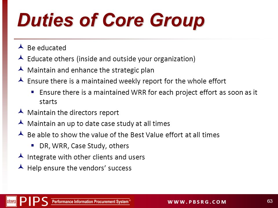 Duties of Core Group Be educated
