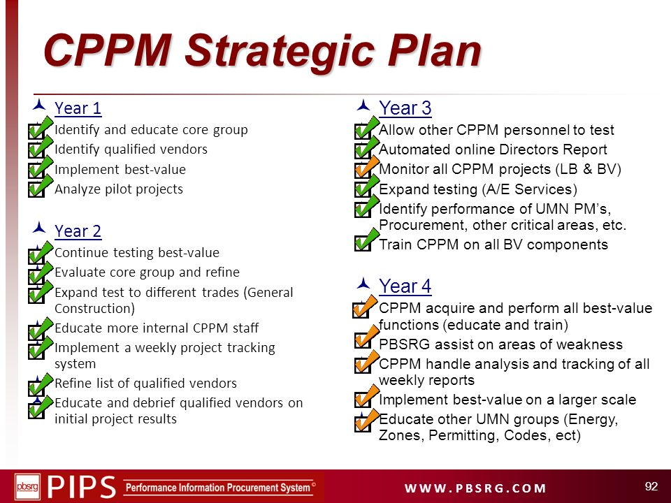 CPPM Strategic Plan Year 1 Year 2 Year 3 Year 4