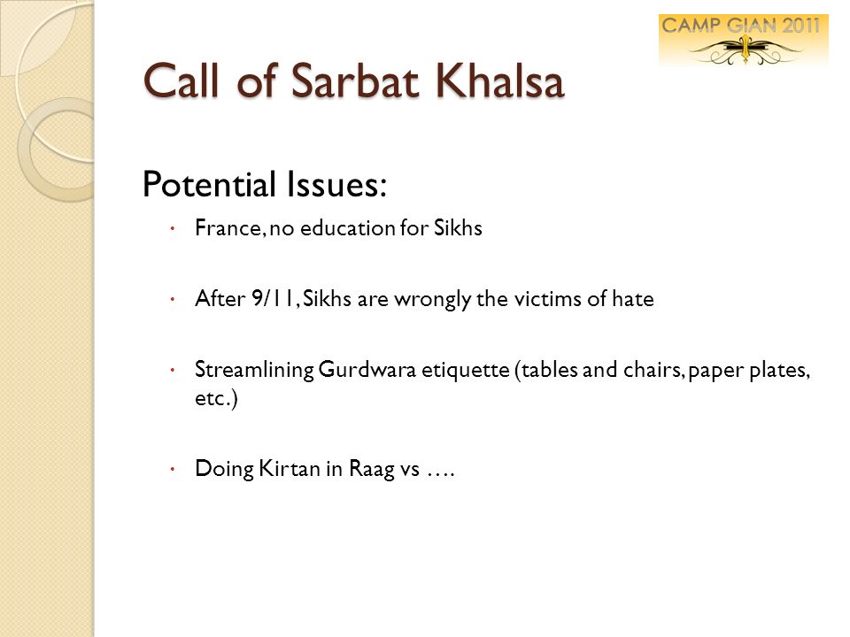 Call of Sarbat Khalsa Potential Issues: France, no education for Sikhs