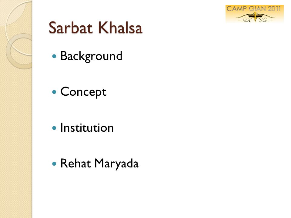 Sarbat Khalsa Background Concept Institution Rehat Maryada