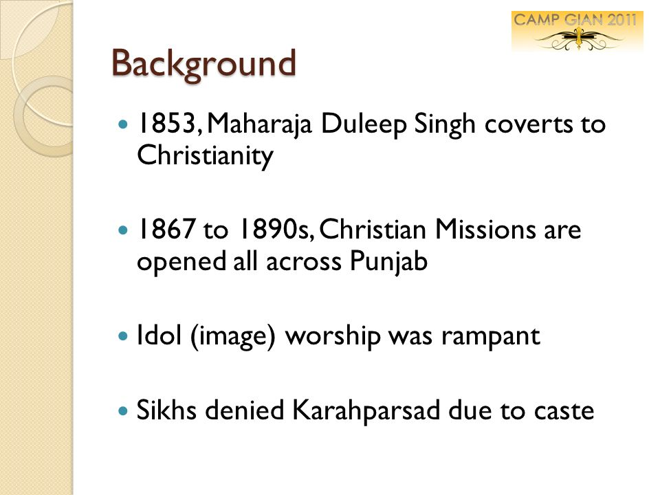 Background 1853, Maharaja Duleep Singh coverts to Christianity