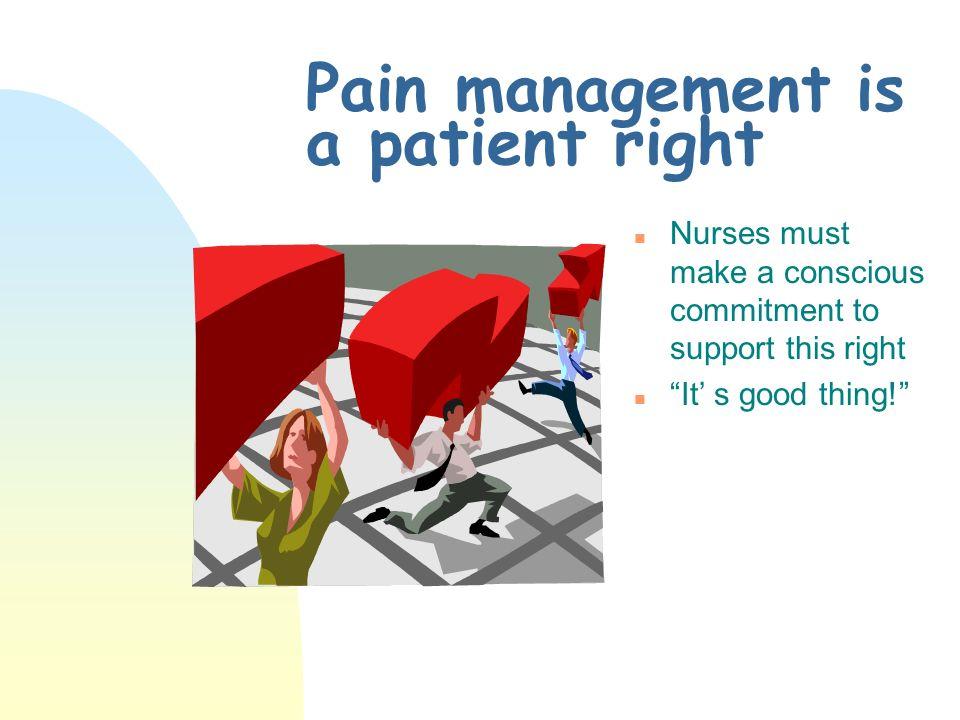 Pain management is a patient right