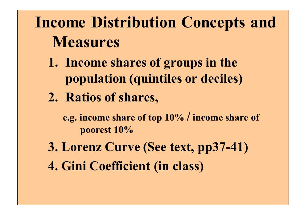 Income Distribution Concepts and Measures