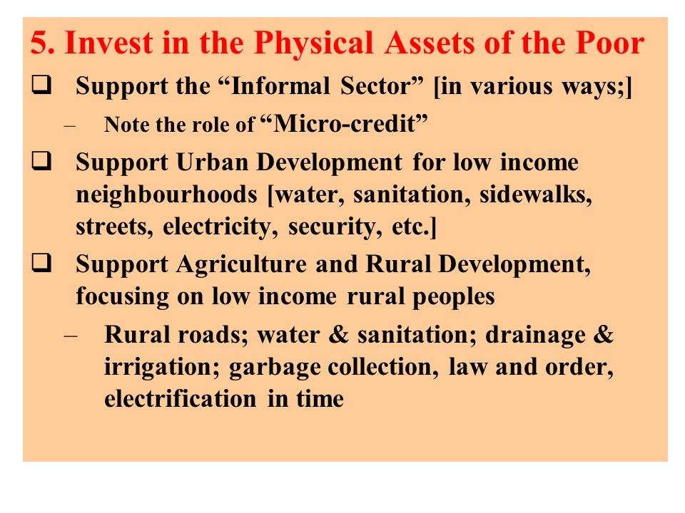 5. Invest in the Physical Assets of the Poor
