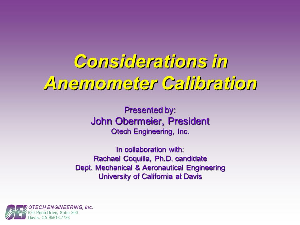 Considerations in Anemometer Calibration