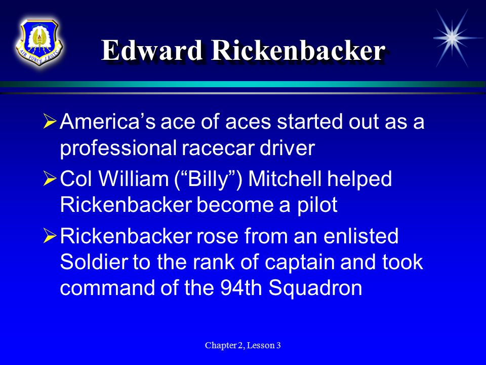 Edward Rickenbacker America's ace of aces started out as a professional racecar driver.