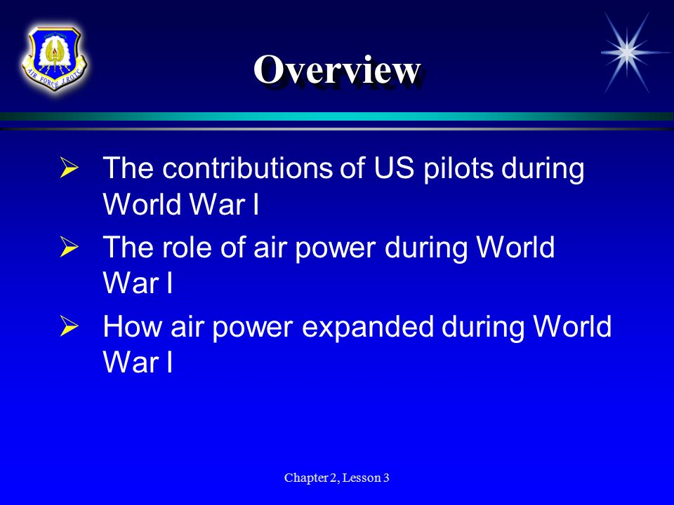 Overview The contributions of US pilots during World War I