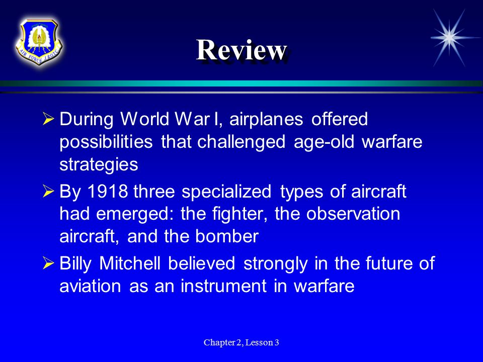 Review During World War I, airplanes offered possibilities that challenged age-old warfare strategies.