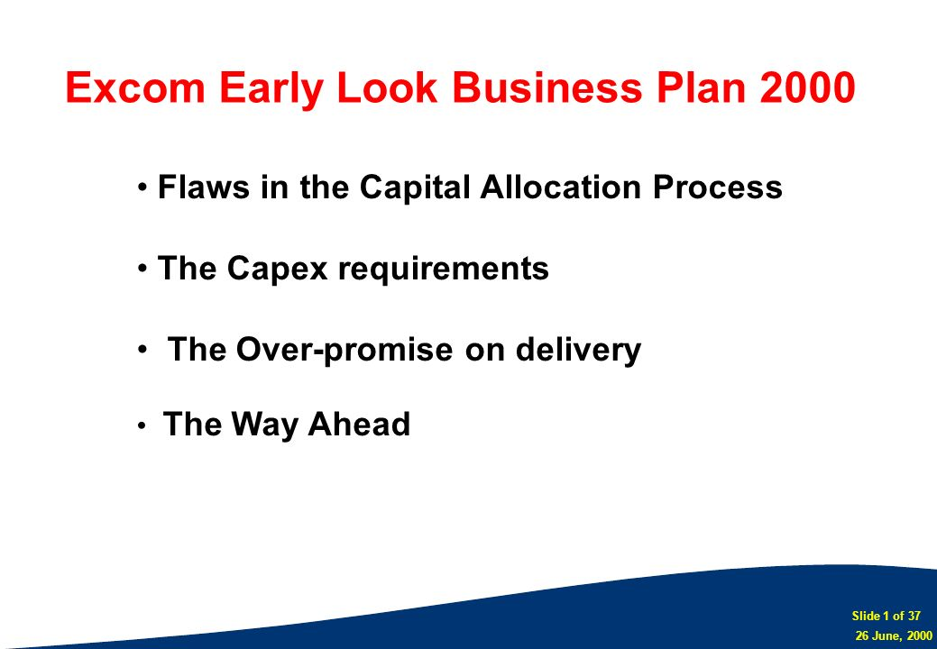 Excom Early Look Business Plan 2000