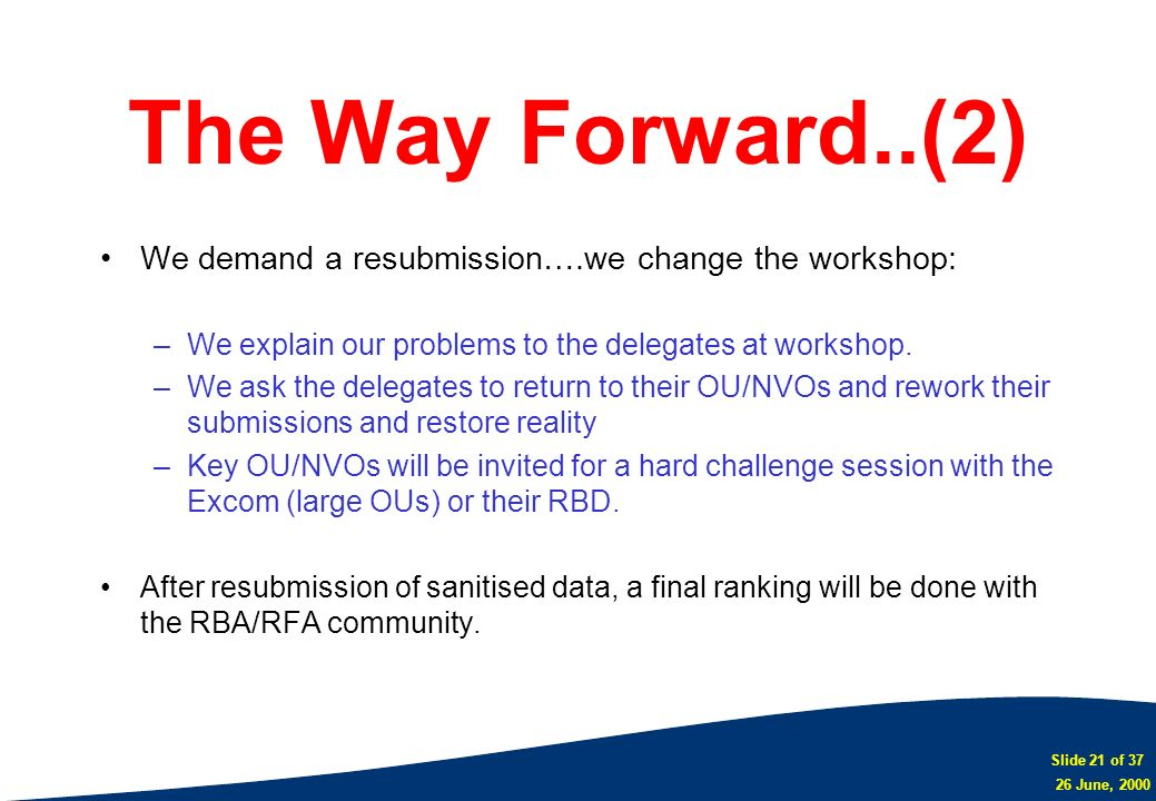 The Way Forward..(2) We demand a resubmission….we change the workshop: