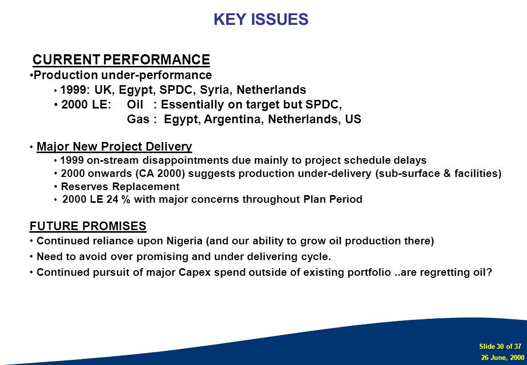 KEY ISSUES Production under-performance