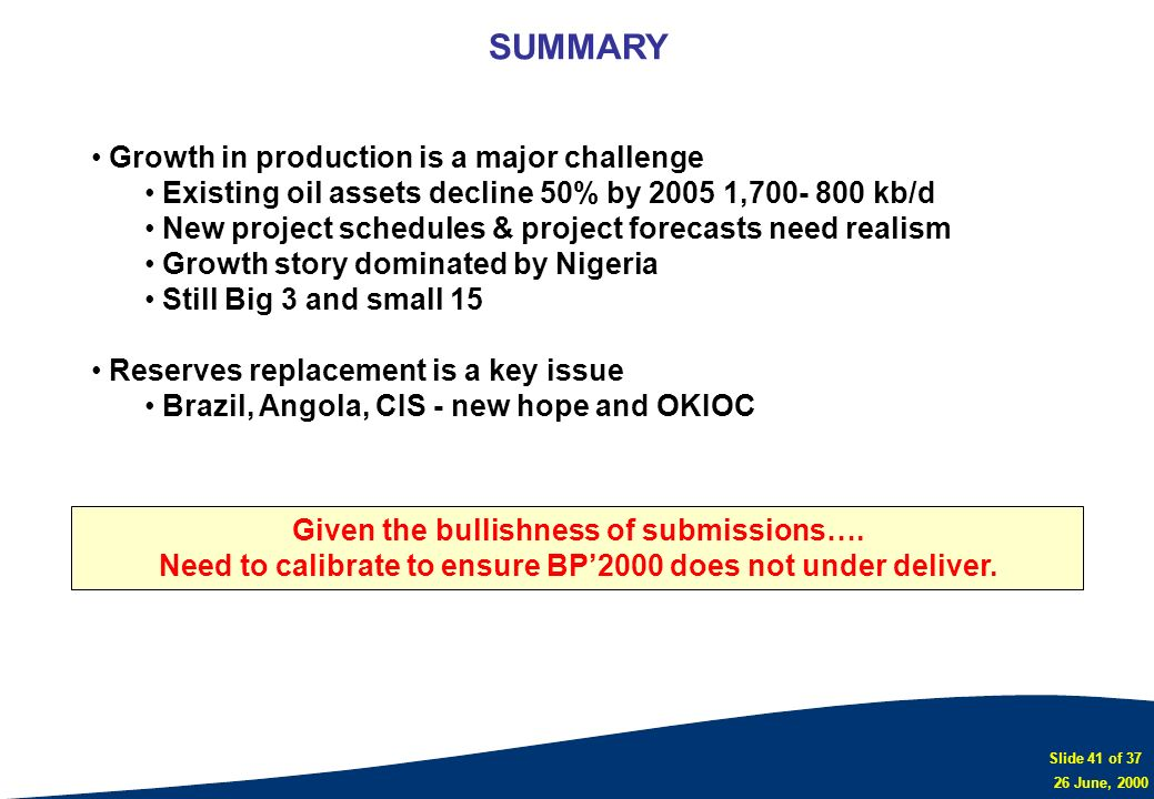 SUMMARY Growth in production is a major challenge