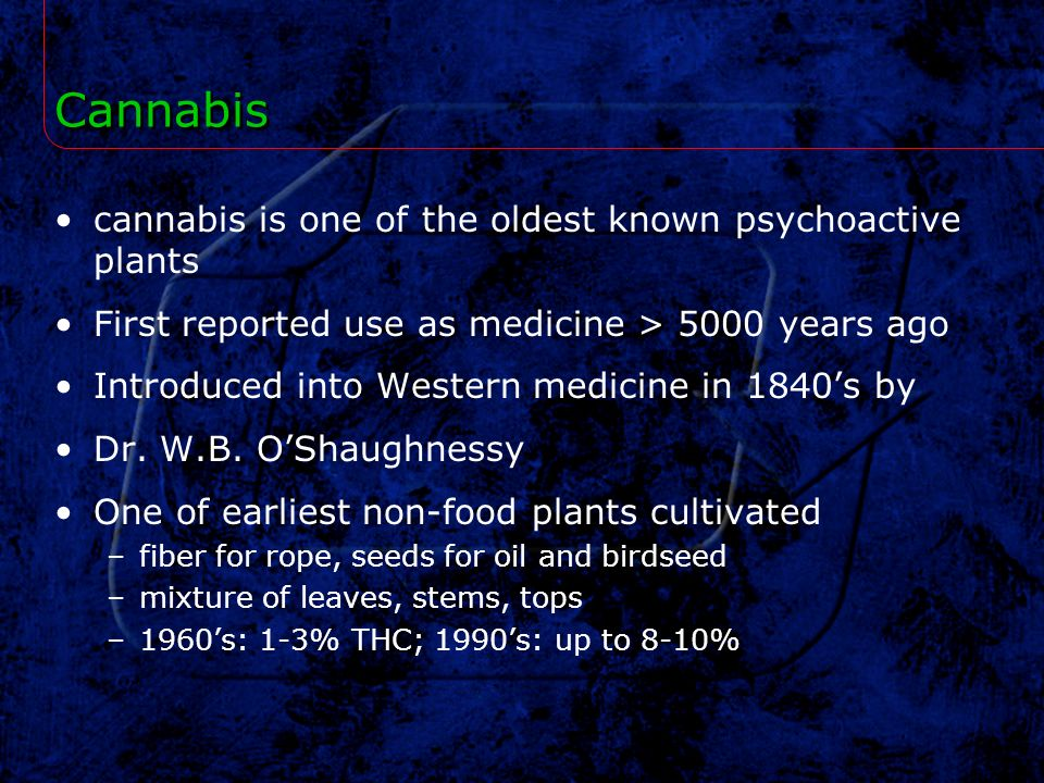Cannabis cannabis is one of the oldest known psychoactive plants