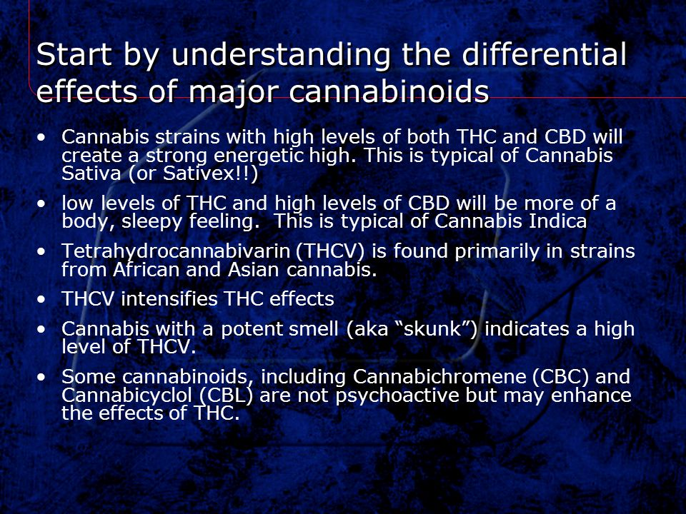 Start by understanding the differential effects of major cannabinoids