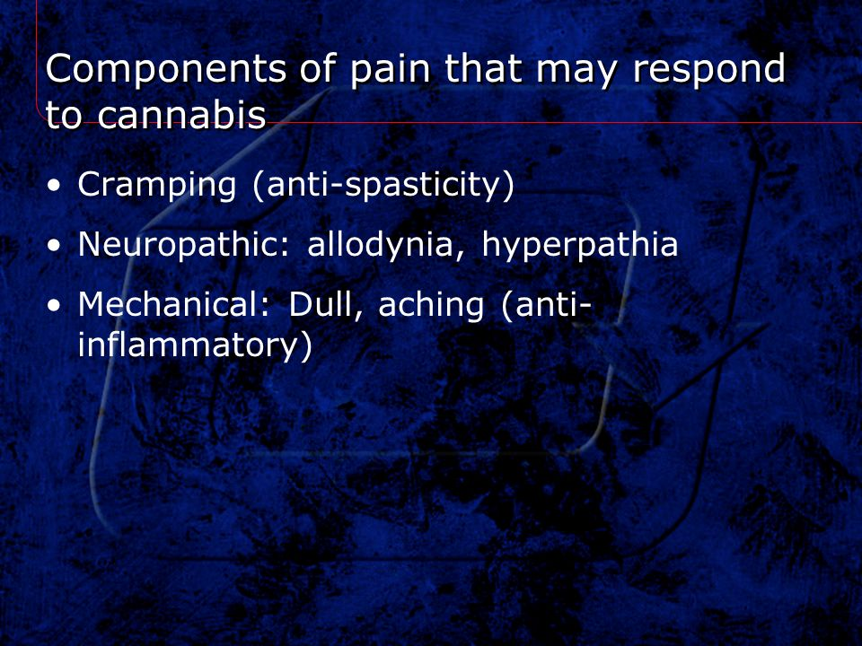Components of pain that may respond to cannabis