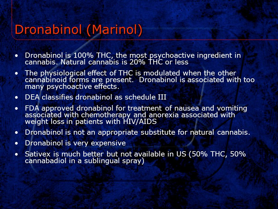 Dronabinol (Marinol) Dronabinol is 100% THC, the most psychoactive ingredient in cannabis. Natural cannabis is 20% THC or less.