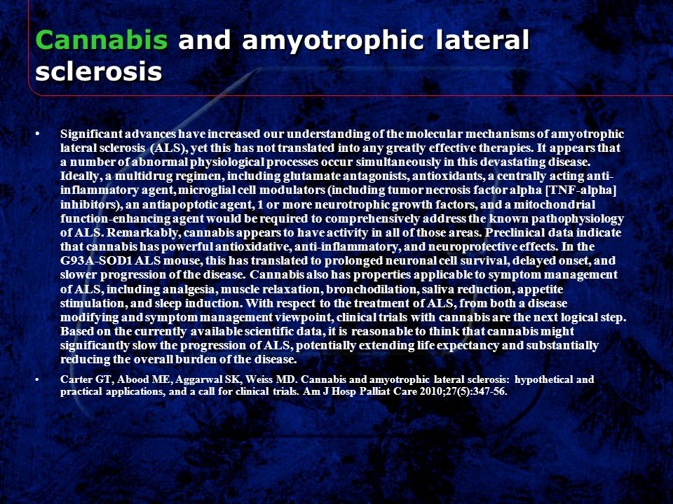 Cannabis and amyotrophic lateral sclerosis