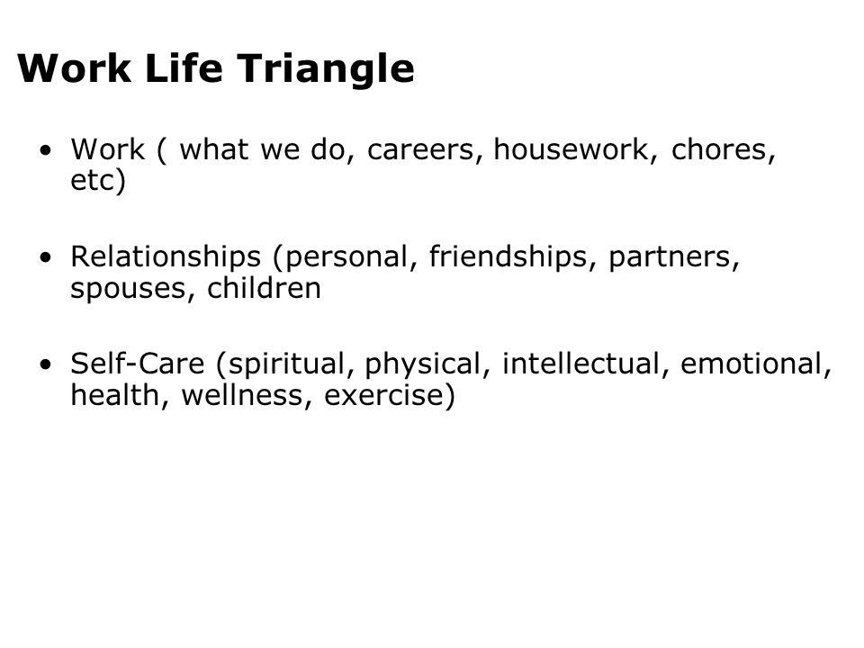 Work Life Triangle Work ( what we do, careers, housework, chores, etc)