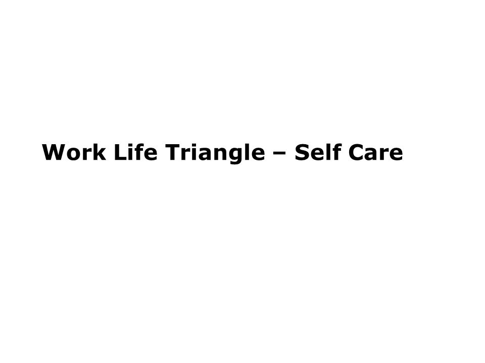 Work Life Triangle – Self Care