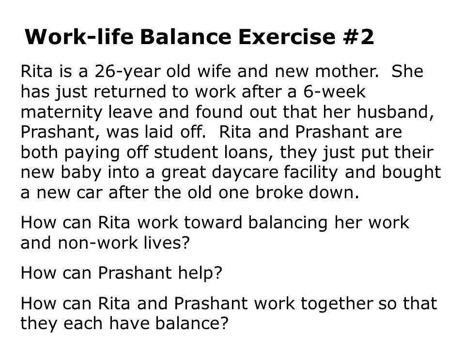 Work-life Balance Exercise #2