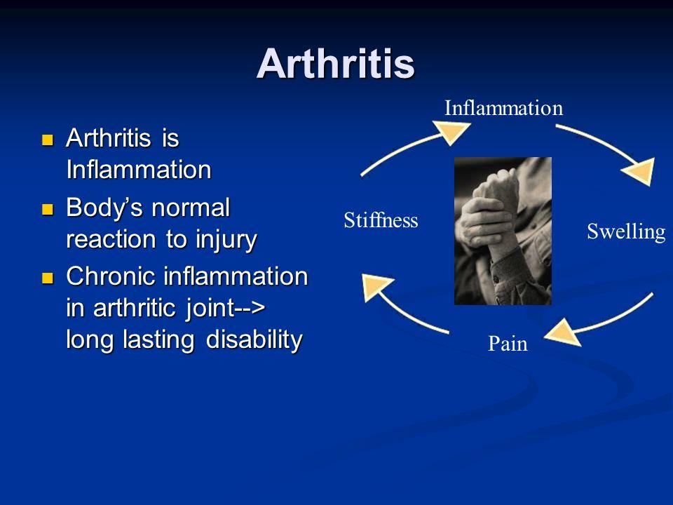 Arthritis Arthritis is Inflammation Body's normal reaction to injury
